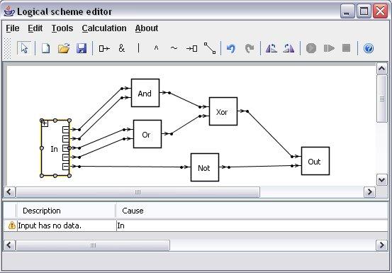 Редактор логических схем позволяет создавать логические схемы с помощью элементов and, or, not, xor и проводов...